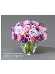 Rose and Freesia Vase Arrangement