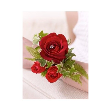 Red Rose and Fern Wrist Corsage
